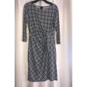 Ann Taylor Black and white side tie dress